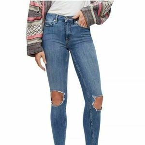 Free People Busted Knee High Waisted Skinny Jeans